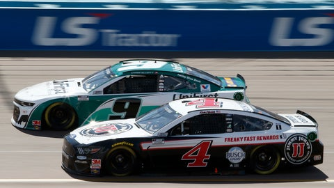 <p>               Kevin Harvick (4) races Chase Elliott (9) for the lead through Turn 4 during a NASCAR Cup Series auto race at Phoenix Raceway, Sunday, March 8, 2020, in Avondale, Ariz. (AP Photo/Ralph Freso)             </p>