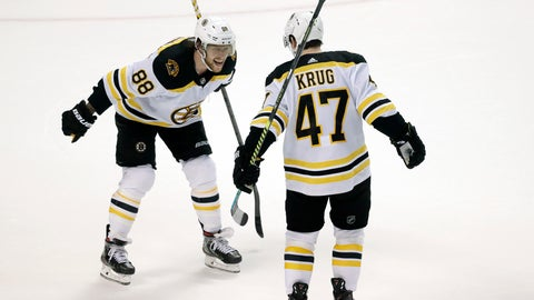 <p>               Boston Bruins right wing David Pastrnak (88) celebrates with defenseman Torey Krug (47) after Krug scored the winning goal during an overtime period of an NHL hockey game against the Florida Panthers, Thursday, March 5, 2020, in Sunrise, Fla. (AP Photo/Wilfredo Lee)             </p>