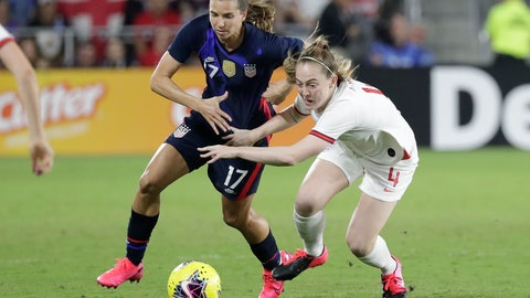 <p>               United States' Tobin Heath (17) and England's Kiera Walsh (4) battle for possession of the ball during the first half of a She Believes Cup soccer match Thursday, March 5, 2020, in Orlando, Fla. (AP Photo/John Raoux)             </p>