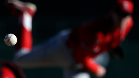 <p>               Los Angeles Angels relief pitcher Matt Ball works against a Los Angeles Dodgers batter during the eighth inning of a spring training baseball game Wednesday, Feb. 26, 2020, in Glendale, Ariz. (AP Photo/Gregory Bull)             </p>
