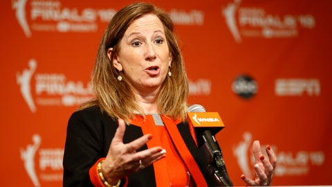 """<p>               FILE - In this Sept. 29, 2019, file photo, WNBA Commissioner Cathy Engelbert speaks at a news conference before Game 1 of basketball's WNBA Finals between the Connecticut Sun and the Washington Mystics, in Washington. The WNBA draft will be a virtual event this year. The league announced Thursday, March 26, 2020, that its draft will still be held April 17 as originally scheduled, but without players, fans or media in attendance due to the coronavirus pandemic.  """"The WNBA draft is a time to celebrate the exceptional athletes whose hard work and dreams are realized with their selections in the draft,"""" WNBA Commissioner Cathy Engelbert said. (AP Photo/Patrick Semansky, File)             </p>"""