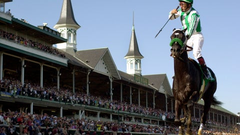 <p>               FILE - In this May 4, 2002, file photo, jockey Victor Espinoza celebrates after riding War Emblem to victory in the 128th Kentucky Derby horse race at Churchill Downs in Louisville, Ky. War Emblem, the 2002 Kentucky Derby and Preakness winner, died Wednesday, March 11, 2020, at age 21. (AP Photo/Al Behrman, File)             </p>