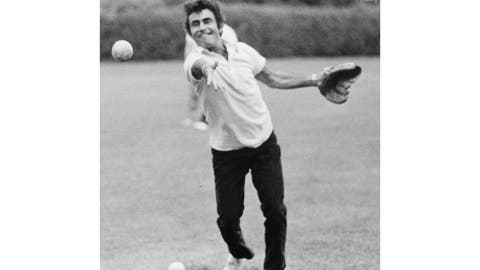 "<p>               This 1973 family photo provided by Anne Serling shows her father, television writer Rod Serling tossing a softball at a school his daughter attended, in Massachusetts. Years before he journeyed to ""The Twilight Zone,"" Rod Serling made a brief detour to the strike zone, writing a comedy about baseball. (Courtesy of Anne Serling via AP)             </p>"