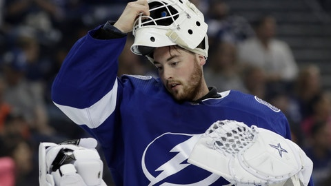 <p>               FILE - In this Sept. 22, 2018, file photo, Tampa Bay Lightning goaltender Connor Ingram is shown during the third period of an NHL preseason hockey game against the Nashville Predators, in Tampa, Fla. The Nashville Predators have signed goaltender Connor Ingram to a three-year contract. Predators general manager David Poile announced the deal Monday, March 23, 2020. (AP Photo/Chris O'Meara, File)             </p>