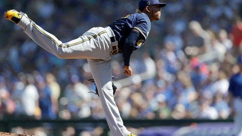<p>               Milwaukee Brewers starting pitcher Freddy Peralta works against a Chicago Cubs batter during the first inning of a spring training baseball game Saturday, Feb. 29, 2020, in Mesa, Ariz. (AP Photo/Gregory Bull)             </p>