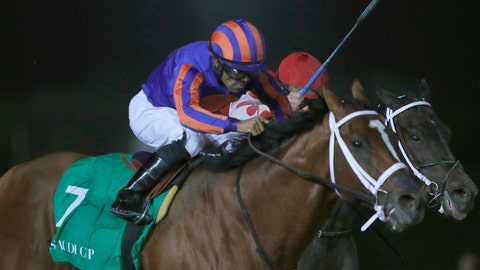 <p>               Jockey Luis Saez rides his horse, Maximum Security as he reaches the finish line of the $20 million, the Saudi Cup, at King Abdul Aziz race track in Riyadh, Saudi Arabia, Saturday, Feb. 29, 2020. The race is considered the world's richest horse race which attracted some of the world's best male and female jockeys. (AP Photo/Amr Nabil)             </p>