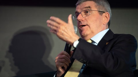 <p>               International Olympic Committee, IOC, president Thomas Bach speaks during the opening conference of SportCity, congress du sport suisse, at the SwissTech Convention Centre, in Lausanne, Switzerland, Tuesday, March 10, 2020. (Laurent Gillieron/Keystone via AP)             </p>
