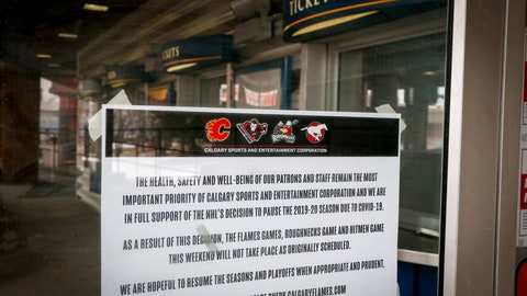 <p>               A noticed is affixed to a door of the Saddledome, home of the Calgary Flames, in Calgary, Alberta, Thursday, March 12, 2020. The NHL has suspended the season due to the coronavirus. (Jeff McIntosh/The Canadian Press via AP)             </p>