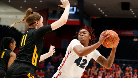 <p>               Dayton guard Jayla Scaife (42) is pressured by Virginia Commonwealth forward Kseniya Malashka (11) during the first half of the women's Atlantic 10 championship NCAA college basketball game, Sunday, March 8, 2020, in Dayton, Ohio. (AP Photo/Gary Landers)             </p>