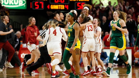 <p>               Baylor guard Te'a Cooper (4) walks off the court at the end of an NCAA college basketball game against Iowa State, Sunday, March 8, 2020, in Ames, Iowa. (AP Photo/Charlie Neibergall)             </p>