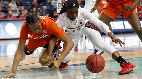 <p>               Syracuse center Amaya Finklea-Guity, left, and Louisville guard Jazmine Jones chase a loose ball during the first half of an NCAA college basketball game at the Atlantic Coast Conference women's tournament in Greensboro, N.C., Friday, March 6, 2020. (AP Photo/Gerry Broome)             </p>