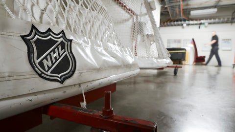 <p>               FILE - In this March 12, 2020, file photo, goals used by the NHL hockey club Nashville Predators are stored in a hallway in Bridgestone Arena in Nashville, Tenn. The Ottawa Senators announced late Tuesday night, March 17, 2020, one of their players has tested positive for COVID-19, has mild symptoms and is in isolation. (AP Photo/Mark Humphrey, File)             </p>