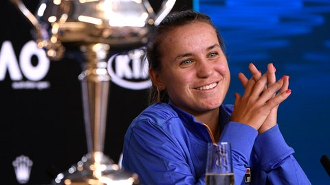 <p>               Sofia Kenin of the U.S. answers questions at a press conference following her win over Spain's Garbine Muguruza in the women's final at the Australian Open tennis championship in Melbourne, Australia, Saturday, Feb. 1, 2020. (AP Photo/Andy Brownbill)             </p>
