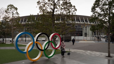 <p>               A woman pauses for photos next to the Olympic rings near the New National Stadium in Tokyo, Monday, March 23, 2020. The IOC will take up to four weeks to consider postponing the Tokyo Olympics amid mounting criticism of its handling of the coronavirus crisis that now includes a call for delay from the leader of track and field, the biggest sport at the games. (AP Photo/Jae C. Hong)             </p>