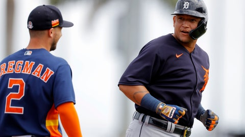 <p>               Detroit Tigers designated hitter Miguel Cabrera, right, talks with Houston Astros third baseman Alex Bregman during the first inning of a spring training baseball game, Monday, March 9, 2020, in West Palm Beach, Fla. (AP Photo/Julio Cortez)             </p>