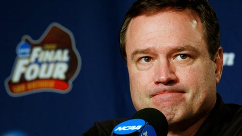<p>               FILE - In this Sunday, April 6, 2008, file photo, Kansas head coach Bill Self listens to a question at a news conference before Monday's championship game against Memphis at the NCAA college basketball Final Four in San Antonio. The NCAA and networks across the sports dial have infused fans with a hoops fix by rebroadcasting epic NCAA Tournament games.  Coaches and players involved in those games are adding insight and a dash of humor by live tweeting during the replay. (AP Photo/Charlie Neibergall, File)             </p>