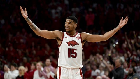 <p>               FILE - In this Feb. 4, 2020, file photo, Arkansas guard Mason Jones celebrates after hitting a 3-point shot during the first half of the team's NCAA college basketball game against Auburn in Fayetteville, Ark. Jones was selected to the Associated Press All-SEC first team announced Tuesday, March 10, 2020. Jones also tied for AP SEC Player of the Year. (AP Photo/Michael Woods, File)             </p>