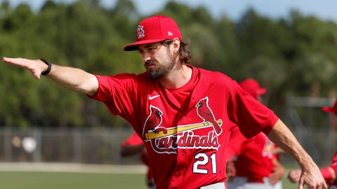 <p>               St. Louis Cardinals pitcher Andrew Miller stretches during spring training baseball practice Wednesday, Feb. 12, 2020, in Jupiter, Fla. (AP Photo/Jeff Roberson)             </p>