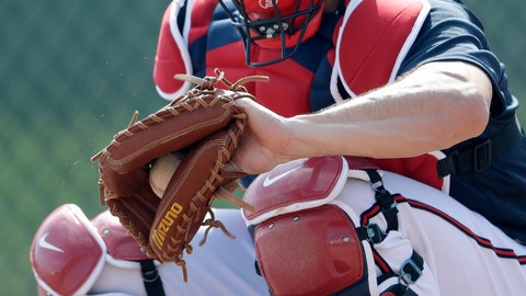 <p>               Newly acquired Atlanta Braves catcher Travis D'Arnaud works during spring training baseball camp Thursday, Feb. 13, 2020, in North Port, Fla. (AP Photo/John Bazemore)             </p>