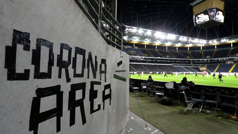 <p>               Eintracht fans have taped letters at a wall of the stadium during a Europa League round of 16, 1st leg soccer match between Eintracht Frankfurt and FC Basel in Frankfurt, Germany, Thursday, March 12, 2020. The match was played in an empty stadium because of the coronavirus outbreak. For most people, the new coronavirus causes only mild or moderate symptoms, such as fever and cough. For some, especially older adults and people with existing health problems, it can cause more severe illness, including pneumonia. (AP Photo/Michael Probst)             </p>