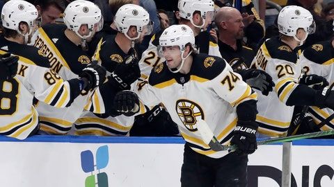 <p>               Boston Bruins left wing Jake DeBrusk (74) celebrates with the bench after scoring against the Tampa Bay Lightning during the second period of an NHL hockey game Tuesday, March 3, 2020, in Tampa, Fla. (AP Photo/Chris O'Meara)             </p>