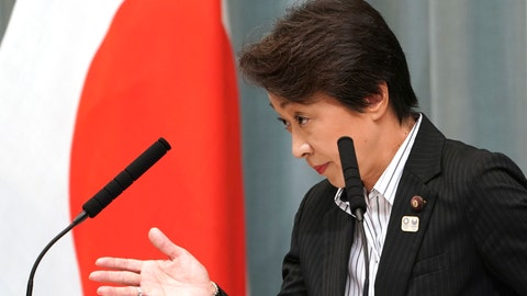 """<p>               FILE - In this Sept. 11, 2019, file photo, then newly appointed Minister in charge of the Tokyo Olympic and Paralympic Games Seiko Hashimoto speaks during a press conference at the prime minister's official residence in Tokyo. U.S. President Donald Trump's suggestion to postpone the Tokyo Olympics for a year because of the spreading coronavirus was immediately shot down by the Olympic minister. """"The IOC and the organizing committee are not considering cancellation or a postponement - absolutely not at all,"""" Hashimoto, an Olympic bronze medalist, told a news conference on Friday, March 13, 2020 in Tokyo. (AP Photo/Eugene Hoshiko, File)             </p>"""