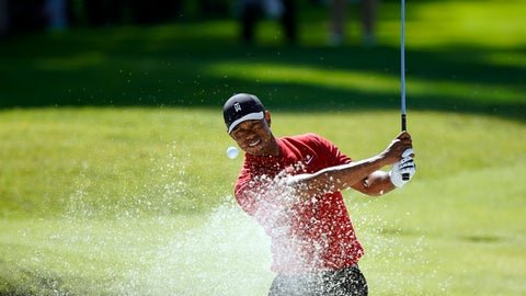 <p>               Tiger Woods hits out of a greenside bunker on the 17th hole during the final round of the Genesis Invitational golf tournament at Riviera Country Club, Sunday, Feb. 16, 2020, in the Pacific Palisades area of Los Angeles. (AP Photo/Ryan Kang)             </p>