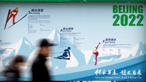 <p>               FILE - In this Feb. 6, 2019, file photo, people walk past a display introducing winter sporting events for the upcoming Beijing 2022 Winter Olympics at a temple fair at Longtan Park in Beijing. Organizers of the 2022 Beijing Winter Olympic Games say they are on track to complete all competition venues by year-end and have teams in place for test events, despite the devastating impact of the novel coronavirus outbreak that originated in the country late last year. (AP Photo/Mark Schiefelbein, File)             </p>
