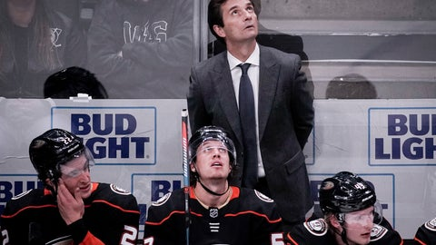 <p>               Anaheim Ducks coach Dallas Eakins watches during the third period of an NHL hockey game against the New Jersey Devils in Anaheim, Calif., Sunday, March 1, 2020. (AP Photo/Chris Carlson)             </p>