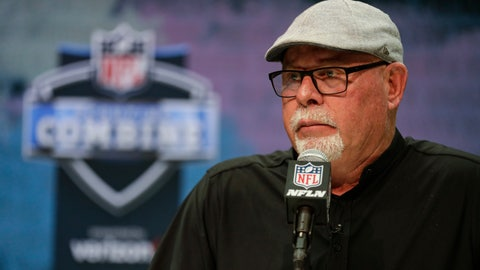 <p>               Tampa Bay Buccaneers head coach Bruce Arians speaks during a press conference at the NFL football scouting combine in Indianapolis, Tuesday, Feb. 25, 2020. (AP Photo/Michael Conroy)             </p>