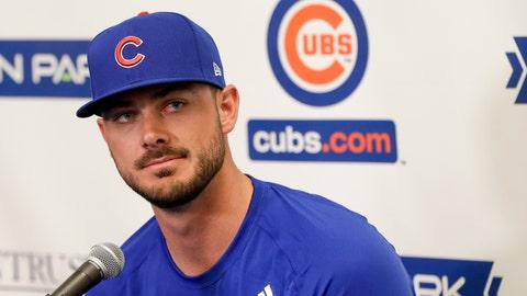 <p>               Chicago Cubs third baseman Kris Bryant speaks to reporters during spring training baseball Saturday, Feb. 15, 2020, in Mesa, Ariz. (AP Photo/Gregory Bull)             </p>