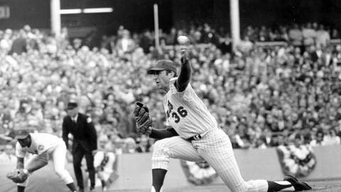 <p>               FILE - In this Oct. 16, 1969, file photo shows New York Mets pitcher Jerry Koosman (36) following through on a pitch during Game 5 of the World Series against the Baltimore Orioles at Shea Stadium in New York. Koosman's No. 36 is being retired by the New York Mets, more than four decades after he threw his final pitch for the team. Koosman, whose five-hitter beat Baltimore in Game 5 of the 1969 World Series for the Mets' first title, will be honored before the June 13 game against Washington, the team said Thursday, March 5, 2020. (AP Photo/File)             </p>