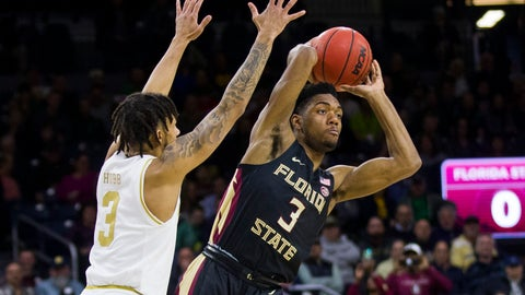 <p>               Florida State's Trent Forrest, left, passes the ball away from Notre Dame's Prentiss Hubb during the first half of an NCAA college basketball game Wednesday, March 4, 2020, in South Bend, Ind. (AP Photo/Robert Franklin)             </p>