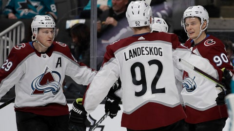 <p>               Colorado Avalanche center Vladislav Namestnikov, right, celebrates with Gabriel Landeskog (92) and Nathan MacKinnon, left, after scoring a goal against the San Jose Sharks in the second period of an NHL hockey game Sunday, March 8, 2020, in San Jose, Calif. (AP Photo/Ben Margot)             </p>