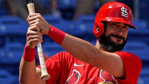 Mar 11, 2020; Port St. Lucie, Florida, USA; St. Louis Cardinals third baseman Matt Carpenter (13) warms up from the on deck circle during a spring training game New York Mets at Clover Park. Mandatory Credit: Steve Mitchell-USA TODAY Sports