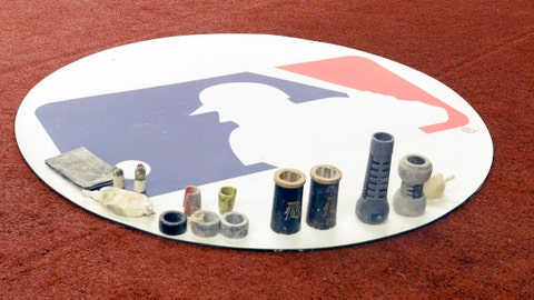 Mar 25, 2019; Montreal, Quebec, CAN; On deck mat with MLB logo and gear in the first inning during a spring training game between the Milwaukee Brewers and the Toronto Blue Jays at Olympic Stadium. Mandatory Credit: Eric Bolte-USA TODAY Sports