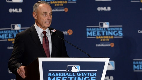 Dec 10, 2019; San Diego, CA, USA; MLB commissioner Rob Manfred speaks to the media before announcing the All-MLB team during the MLB Winter Meetings at Manchester Grand Hyatt. Mandatory Credit: Orlando Ramirez-USA TODAY Sport