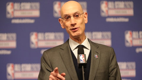 Feb 15, 2020; Chicago, Illinois, USA; NBA commissioner Adam Silver speaks at a press conference during NBA All Star Saturday Night at United Center. Mandatory Credit: Dennis Wierzbicki-USA TODAY Sports