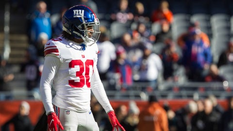 Nov 24, 2019; Chicago, IL, USA; New York Giants cornerback Antonio Hamilton (30) warms up prior to the game against the Chicago Bears at Soldier Field. Mandatory Credit: Kena Krutsinger-USA TODAY Sports