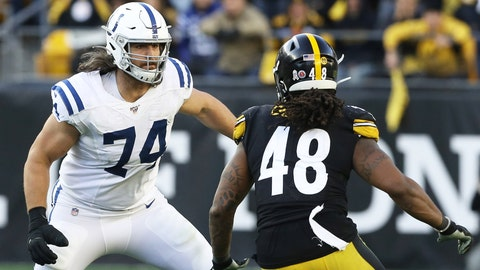 Nov 3, 2019; Pittsburgh, PA, USA;  Indianapolis Colts offensive tackle Anthony Castonzo (74) blocks at the line of scrimmage against Pittsburgh Steelers outside linebacker Bud Dupree (48) during the fourth quarter at Heinz Field. The Steelers won 26-24. Mandatory Credit: Charles LeClaire-USA TODAY Sports