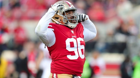 3 Dec 15, 2019; Santa Clara, CA, USA; San Francisco 49ers defensive tackle Sheldon Day (96) celebrates after a sack during the second half against the Atlanta Falcons at Levi's Stadium. Mandatory Credit: Sergio Estrada-USA TODAY Sports