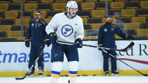 May 26, 2019; Boston, MA, USA; St. Louis Blues left wing Sammy Blais (9) looks on from the ice during practice at media day for the 2019 Stanley Cup Final at TD Garden. Mandatory Credit: Bob DeChiara-USA TODAY Sports