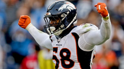 <p>               FILE - In this Dec. 6, 2015, file photo, Denver Broncos outside linebacker Von Miller celebrates a sack against the San Diego Chargers during the second half in an NFL football game in San Diego. Miller was selected to the 2010s NFL All-Decade Team announced Monday, April 6, 2020, by the NFL and the Pro Football Hall of Fame. (AP Photo/Gregory Bull, FIle)             </p>