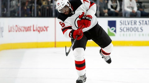 <p>               FILE - In this March 3, 2020, file photo, New Jersey Devils defenseman P.K. Subban (76) plays against the Vegas Golden Knights during an NHL hockey game in Las Vegas. Subban and the NHL are bringing something new to television Saturday for fans and everyone dealing with the isolation and hardships caused by the coronavirus pandemic. It's NHL Hat Trick Trivia. Subban is the host of the weekly 30-minute show in which contestants will answer up to three hockey trivia questions for prizes,  the top one being two tickets to any game next season. (AP Photo/John Locher, File)             </p>