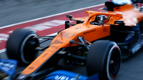 <p>               Mclaren driver Carlos Sainz of Spain pulls out of the pit lane during the Formula One pre-season testing session at the Barcelona Catalunya racetrack in Montmelo, outside Barcelona, Spain, Friday, Feb. 28, 2020. (AP Photo/Joan Monfort)             </p>