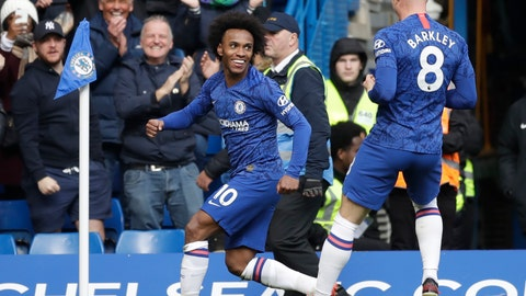 <p>               Chelsea's Willian, left, celebrates with Ross Barkley after scoring his side's third goal during the English Premier League soccer match between Chelsea and Everton at Stamford Bridge stadium in London, England, Sunday, March 8, 2020. (AP Photo/Matt Dunham)             </p>