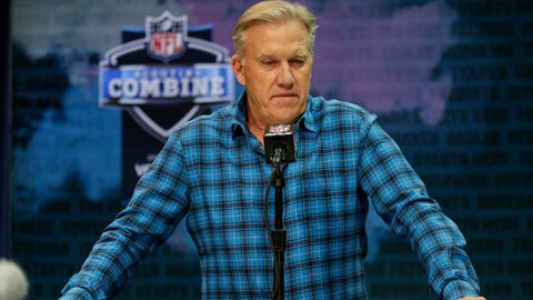 "<p>               FILE - In this Feb. 25, 2020 file photo Denver Broncos general manager John Elway speaks during a news conference at the NFL football scouting combine in Indianapolis. NFL teams are having to rely more heavily on game film of college prospects as they prepare for the draft at a time when the COVID-19 pandemic has halted business as usual. On Tuesday, March 31, 2020 Elway said in a conference call, ""We'll just have to conclude the best we can from what we can see on the tape."" (AP Photo/Michael Conroy)             </p>"