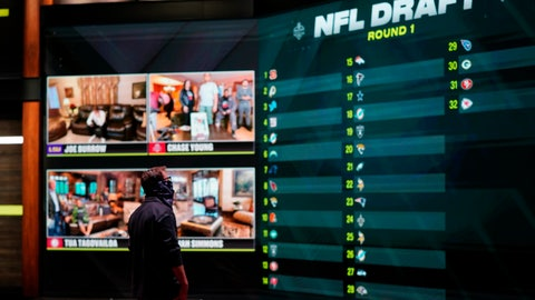 <p>               In a photo provided by ESPN Images, the draft board is seen before the start of the NFL football draft, Thursday, April 23, 2020, in Bristol, Conn. (Allen Kee/ESPN Images via AP)             </p>