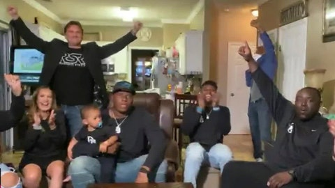 <p>               In this still image from video provided by the NFL, Derrick Brown, wearing cap, watches during the NFL football draft Thursday, April 23, 2020, as people with him applaud his selection by the Carolina Panthers. (NFL via AP)             </p>