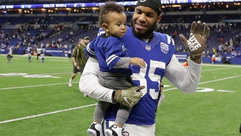 <p>               FILE - In this Nov. 11, 2018, file photo, Indianapolis Colts tight end Eric Ebron (85) carries his son as he leaves the field following an NFL football game against the Jacksonville Jaguars in Indianapolis. Ebron is embracing a fresh start in Pittsburgh after an ugly divorce with the Indianappolis Colts. The Steelers signed Ebron to a two-year contract last week. (AP Photo/Darron Cummings, File)             </p>